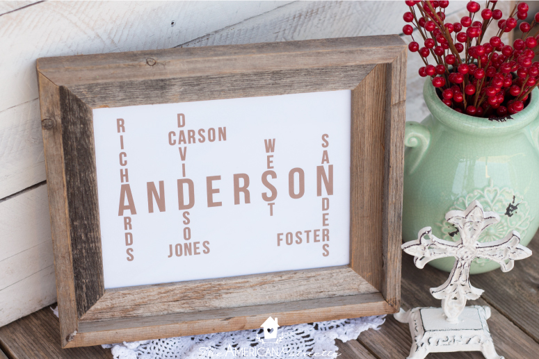 DIY Family Name Tree - Great gift & decor idea! - The American Patriette