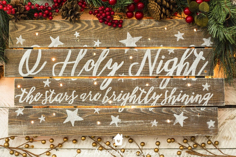 Rustic DIY Light-Up Christmas Sign with O Holy Night Verse - DIY Rustic Light-Up Christmas Sign - The American Patriette
