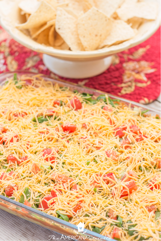 Creamy-Beany-Cheese-Guaca-Salsa (7 Layer Dip) - New Years Eve Party Snack and Game Ideas