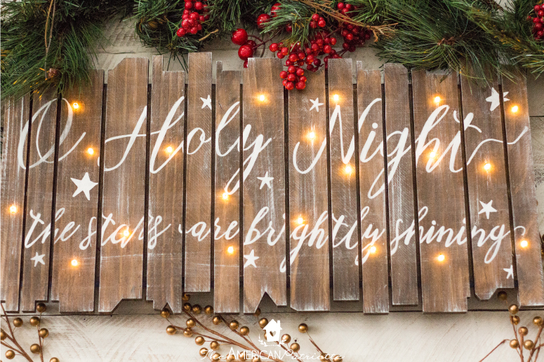 DIY Rustic Light-Up Christmas Sign - A Beautiful and Easy-to-make … - DIY Rustic Light-Up Christmas Sign - The American Patriette
