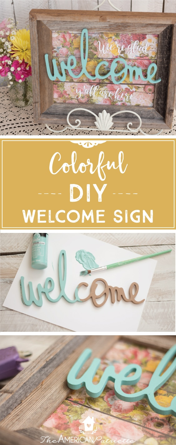 Colorful DIY Welcome Sign for Entryway Table