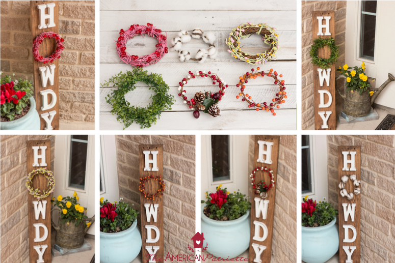 DIY Howdy Front Porch Pallet Sign with Interchangeable Seasonal Wreaths - easy and inexpensive DIY welcome sign you can keep up year-round! Just change out the wreath to celebrate various seasons!