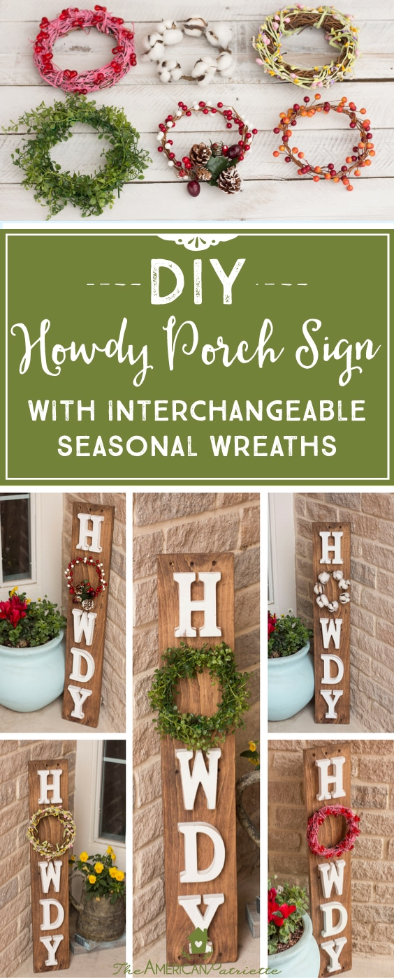 DIY Howdy Porch Sign with Interchangeable Seasonal Wreaths