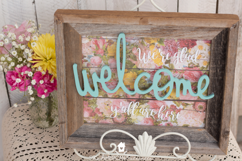 Colorful DIY Welcome Sign Using a Repurposed Frame