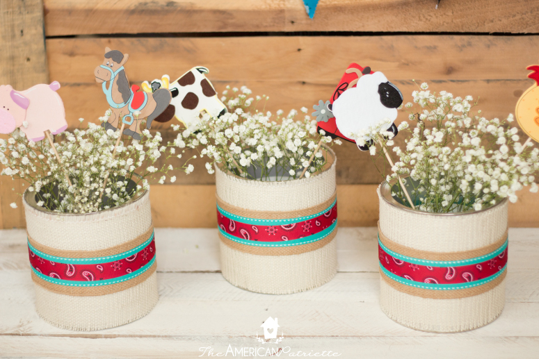 Burlap-Covered Centerpieces for a Western Party