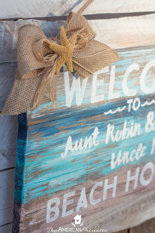 DIY Painted Rustic Beach Welcome Sign - Easy-to-make, lovely sign to welcome guests into a beach home or cottage!