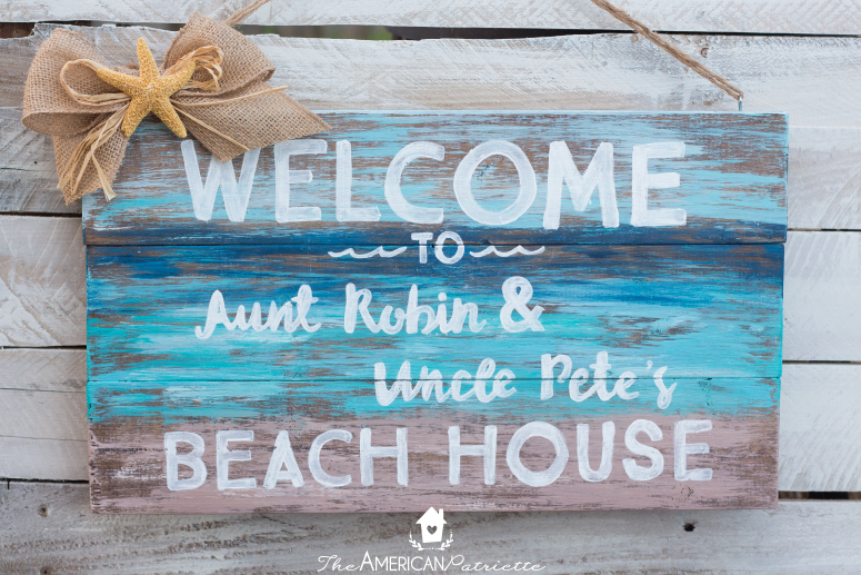 Diy Painted Rustic Beach Welcome Sign The American Patriette