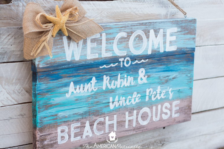 DIY Painted Rustic Beach Welcome Sign