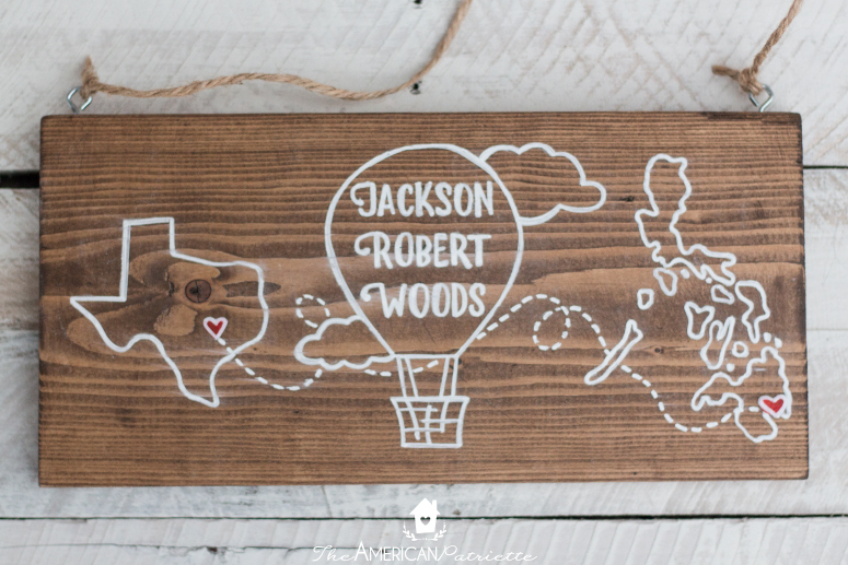 DIY Nursery Sign Commemorating Parents' Hometowns