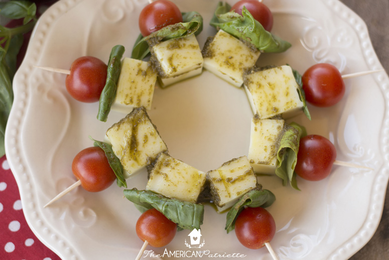 Caprese Skewers - an easy, fresh snack or appetizer to prepare for guests or to bring to a party!