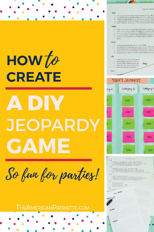 Category Ideas for DIY Trivia or Jeopardy Games (with free game