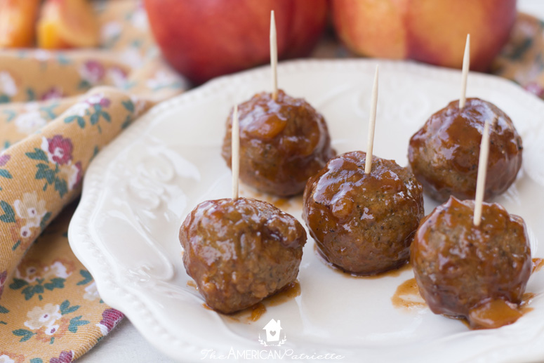 Slow Cooker Peach & Honey Chipotle Appetizer Meatballs