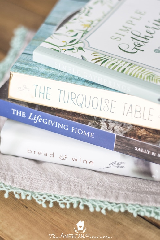 Four Great Books about Hospitality; Simple Gatherings; The Turquoise Table; The Life Giving Home; Bread & Wine