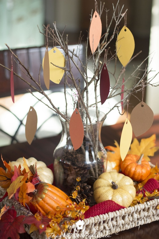 Thankful Tree Table Centerpiece - Fall Family Activities for Little Hands; Thankful Kids' Activity