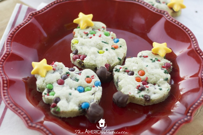Chocolate Chip Pistachio Christmas Tree Cookies (Perfect for Santa!)