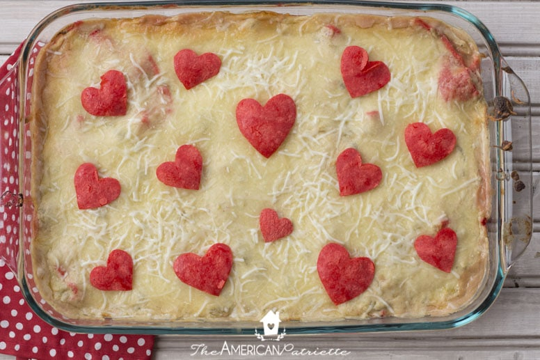 Cheesy and Creamy Valentine Enchilada Casserole