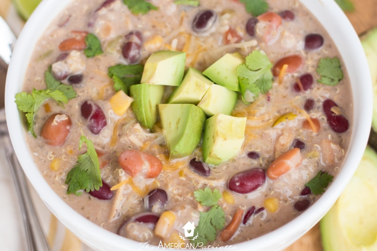 No Prep Protein-Packed Green Chile Chicken and Quinoa Enchilada Soup