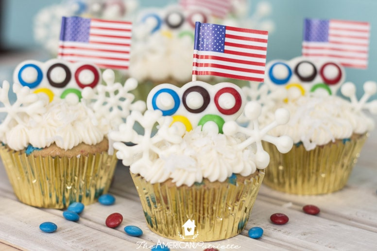 Winter Olympic Cupcakes with Candy Snowflakes