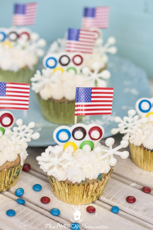 Patriotic Winter Olympic Cupcakes with Candy Snowflakes
