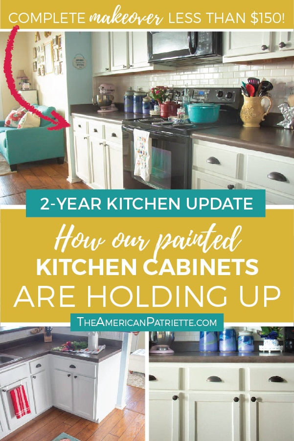 White painted kitchen cabinets Modern Click Here To Learn How Our Diy White Painted Kitchen Cabinets Are Holding Up After The American Patriette Update On Our Diy White Painted Kitchen Cabinets Years Later